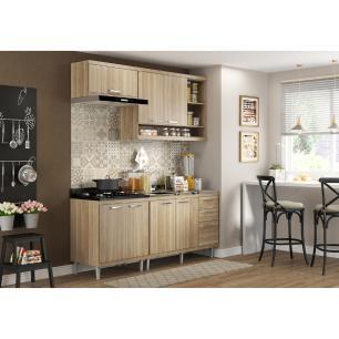 Cozinha Compacta Completa Multimóveis com 4 peças Sicília 5810 Argila/Argila