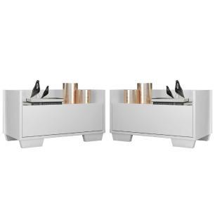Kit com 2 Mesas de Cabeceira 60 cm com Pés Quadrados Multimóveis Branca