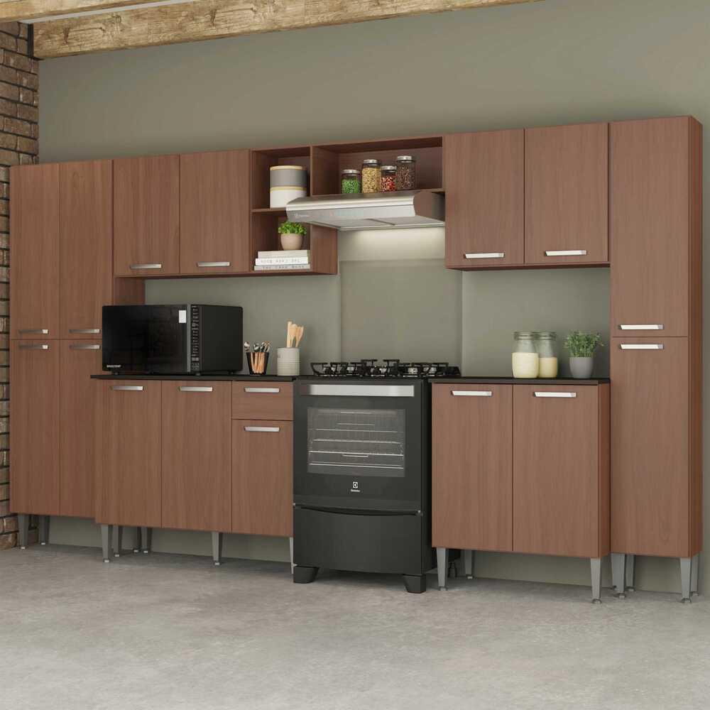 Cozinha Completa Compacta c/ Armário e Balcão c/ Tampo 6 pçs Pequim Blues Multimóveis Carvalho Avelã