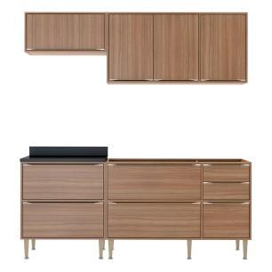 Cozinha Compacta Multimóveis com 4 peças Calábria 5459 Nogueira