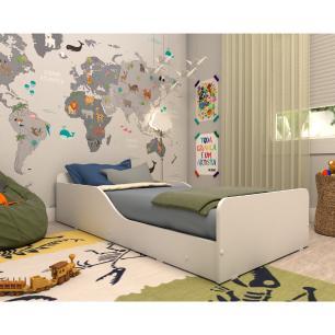 Cama Infantil Montessoriana c/ Barras de Proteção p/ colchão 70 x 150 cm Square Multimóveis Branca