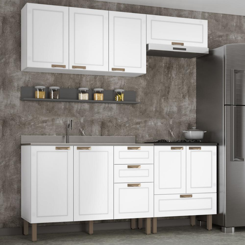 Cozinha Completa 5 peças Americana Multimóveis 5915 Branco/Grafite