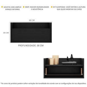 Mesa de Cabeceira 60 cm Suspensa Multimóveis Preta
