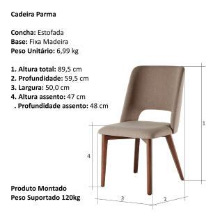 Cadeira de Jantar Fixa Parma Café com Leite 1777 Base Madeira cor Imbuia