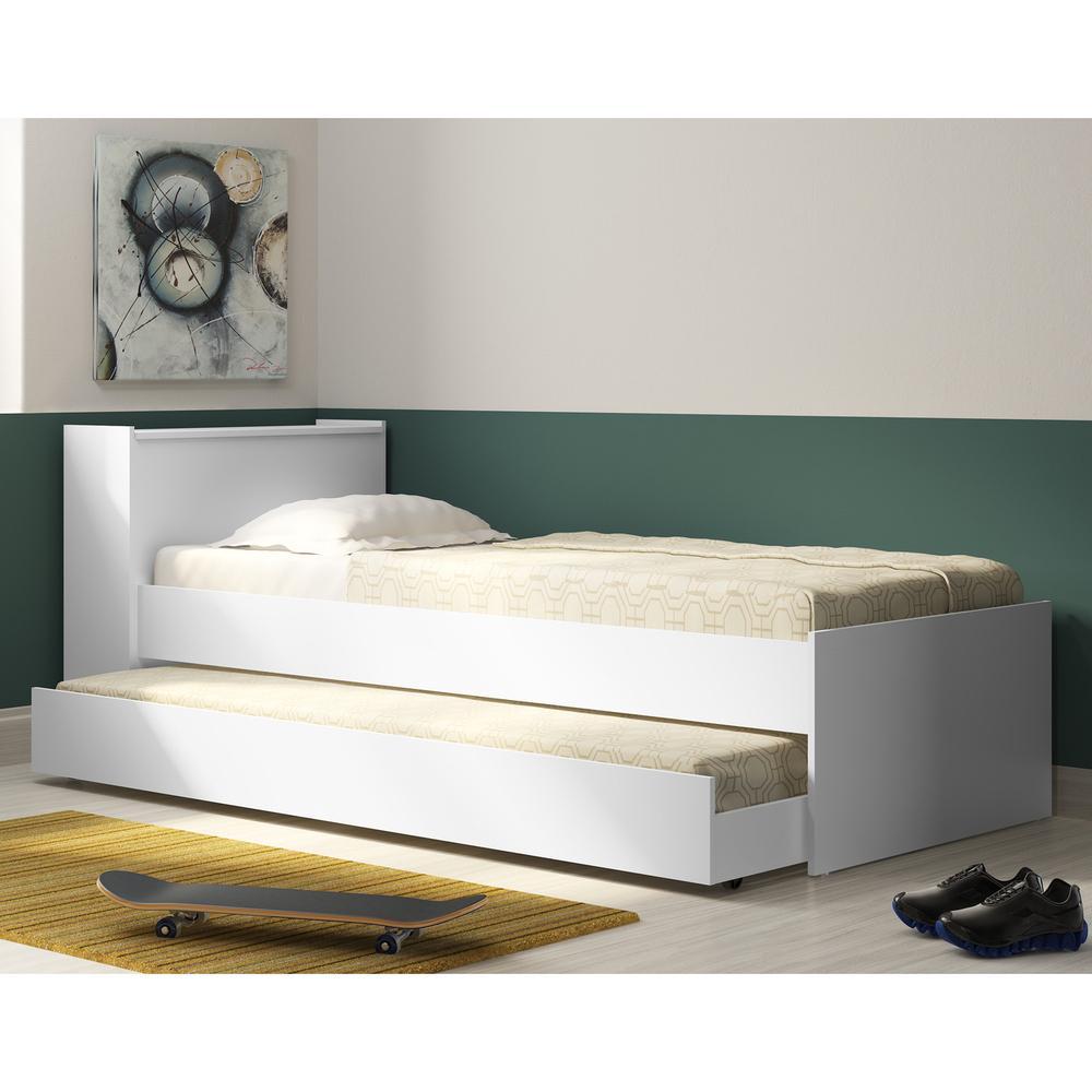 Bicama com Baú Embutido para colchão 78 x 188 cm Multimóveis Branca