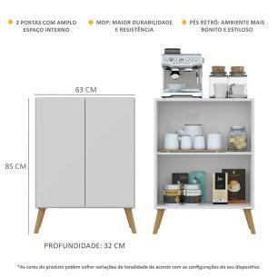 Aparador Cantinho do Café com Pés Retrô e 2 Portas Multimóveis Branco/Natural