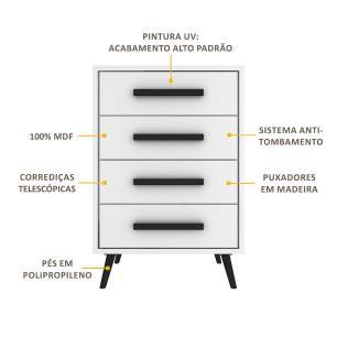 Cômoda 100% MDF 4 gavetas Prime Vintage Multimóveis, puxadores perfil e pés retrô Branco/Preto