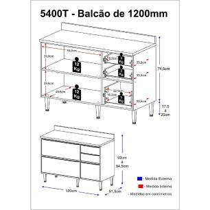 Balcão Multimóveis Calábria 120cm com Tampo 5400T Nogueira/Branco