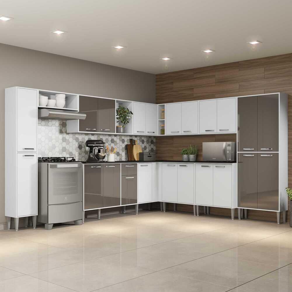 Cozinha Completa com Armário e Balcão com Tampo 11 peças Xangai Pop Multimóveis Branca/Lacca Fumê