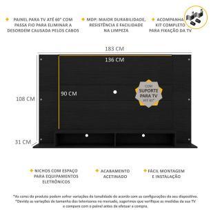 Painel com Suporte TV até 60 polegadas Tókio Multimóveis Preto