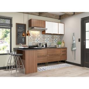 Cozinha Completa Multimóveis com 5 peças Calábria 5455 Nogueira/Branco