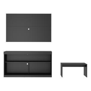 Rack com painel para TV até 55 polegadas e mesa de centro Dublin Multimóveis Preto
