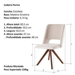 Cadeira de Jantar Giratória Parma Bege Claro 4612 Base Madeira cor Imbuia