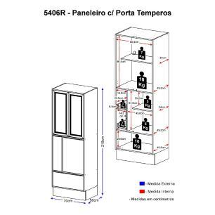 Paneleiro Multimóveis Calábria com porta tempero 5406R Nogueira/Branco com Rodapé