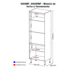 Paneleiro Multimóveis Calábria para Forno e Microondas 5404RMF Nogueira com Rodapé