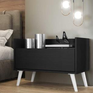 Mesa de Cabeceira 60 cm com Pés Retrô Multimóveis Preta/Branca