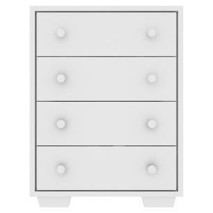 Cômoda 100% MDF 4 gavetas Travessura Multimóveis, puxadores redondos e pés quadrados Branco