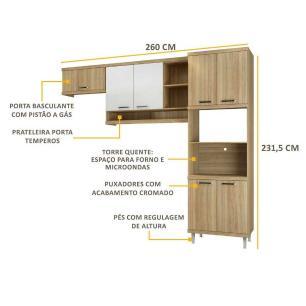 Cozinha Multimóveis Sicília 3 Peças 5161 Argila/Branco