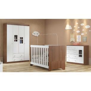 Quarto Completo infantil Ana Lívia Multimóveis Avelã/Branco com Berço mini cama + Guarda roupa 3 portas + cômoda 1 Porta e 4 Gavetas