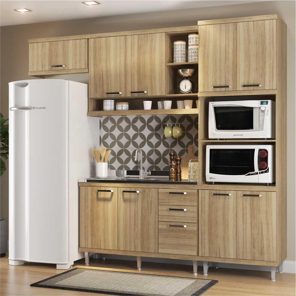 Cozinha Compacta Completa Multimóveis com 4 peças Sicília 5828 Argila/Argila