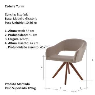 Poltrona Giratória Turin Bege Escuro 6524 Base Madeira cor Imbuia