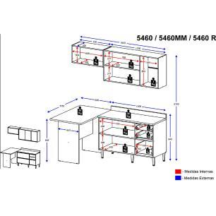 Cozinha Compacta Multimóveis com 4 peças Calábria 5460 Nogueira/Branco