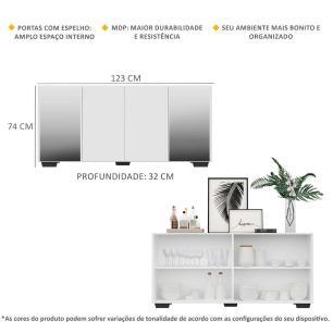 Aparador Buffet com Espelho e Pés Quadrados Vegas Multimóveis Branco/Preto