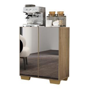 Aparador Cantinho do Café com Espelho e Pés Quadrados 2 Portas Multimóveis Rustic/Natural