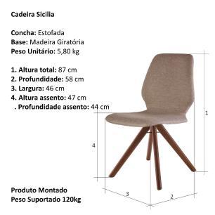 Cadeira de Jantar Giratória Sicilia Café com Leite 1777 Base Madeira cor Imbuia