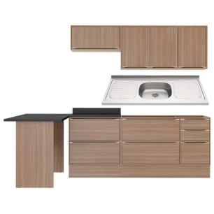Cozinha Compacta com Pia Inox, Mesa e Rodapé 8 peças Calábria Multimóveis MP3192 Madeirado