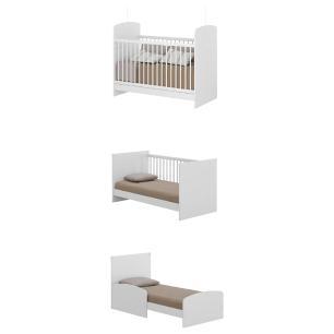 Berço mini cama e Cômoda 4 gavetas New Cristal Multimóveis Branco