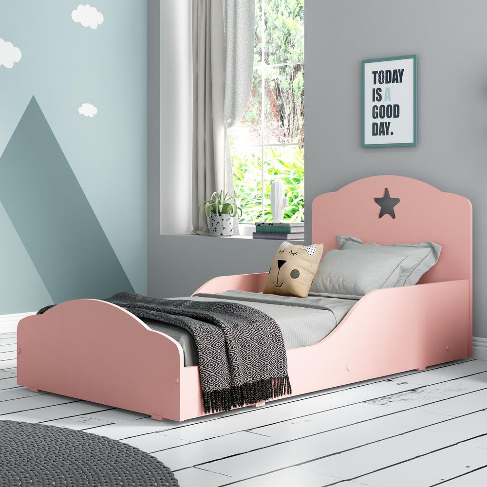 Cama Infantil Montessoriana com Colchão Incluso 70 x 150 cm 100% MDF Star Plus Multimóveis Rosa