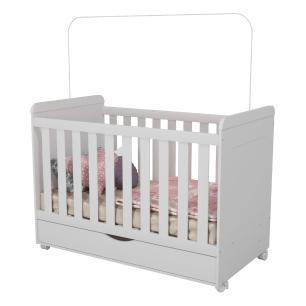 Quarto Completo Infantil Artur Multimóveis Branco com Berço mini cama + Guarda roupa 4 portas + cômoda 1 Porta e 4 Gavetas