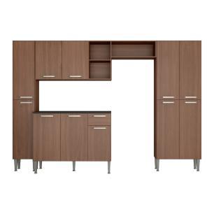 Cozinha Completa Compacta c/ Armário e Balcão c/ Tampo 4 pçs Pequim Classic Multimóveis Carv. Avelã