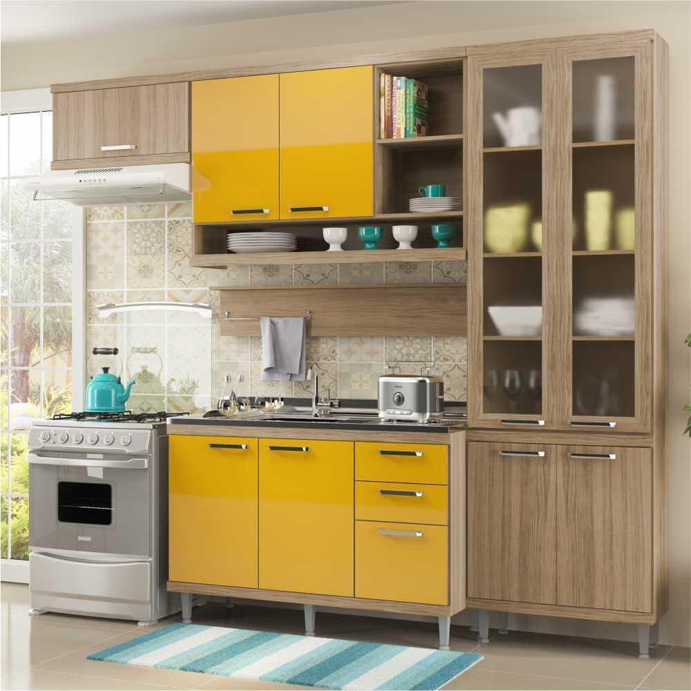 Cozinha Completa Multimóveis com 5 peças Sicília 5816 Argila/Amarelo