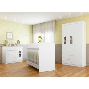Quarto Completo infantil New Cristal Multimóveis Branco com Berço mini cama + Guarda roupa 3 portas + cômoda 1 Porta e 4 Gavetas