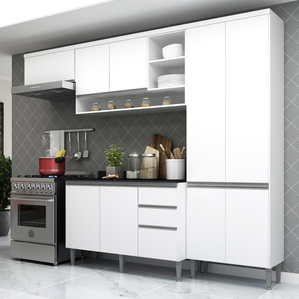 Cozinha Completa Compacta com Armário e Balcão com Tampo Hollywood Multimóveis Branca