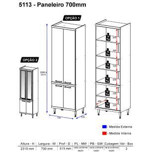 Paneleiro Multimóveis Sicília Duplo com vidro 5113 Argila