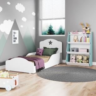 Quarto infantil com Mini Cama Montessoriana Com Colchão e Estante Zig Zag Multimóveis Branco/Azul