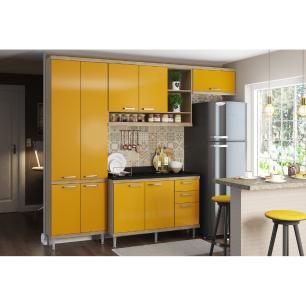 Cozinha Completa Multimóveis com 5 peças Sicília 5841 Argila/Amarelo