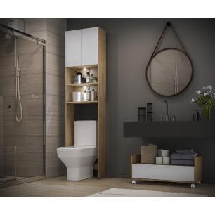 Armário Banheiro para Vaso Sanitário com 2 Leds e Balcão com Rodízios Multimóveis Branco/Rustic