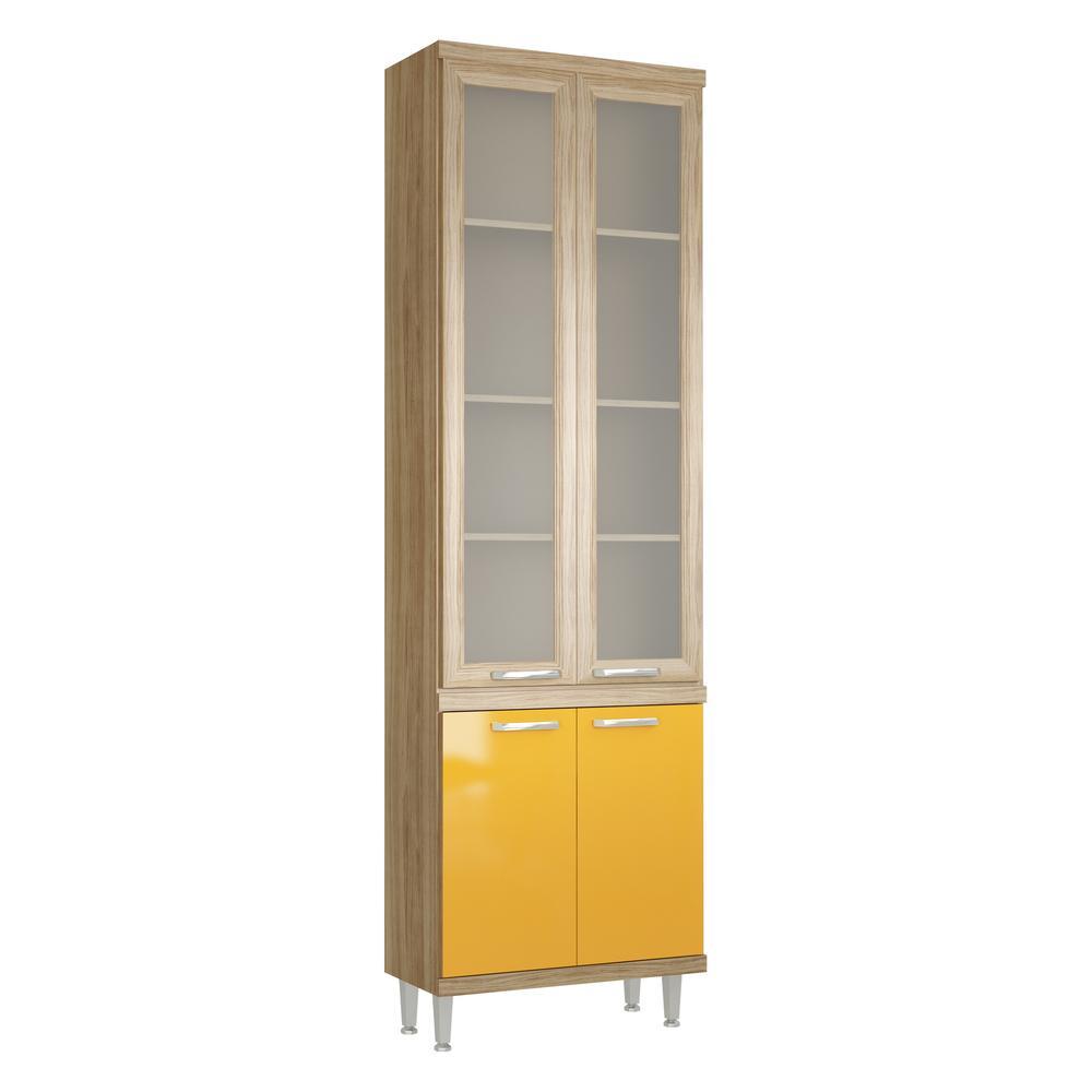 Paneleiro Multimóveis Sicília prof.32cm com vidro 5121 Argila/Amarelo