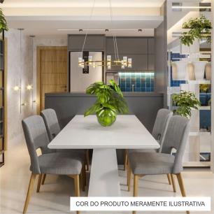 Cadeira de Jantar Fixa Parma Bege Claro 4612 Base Madeira cor Imbuia