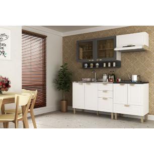 Cozinha Completa 5 peças Americana Multimóveis 5917 Branco/Grafite