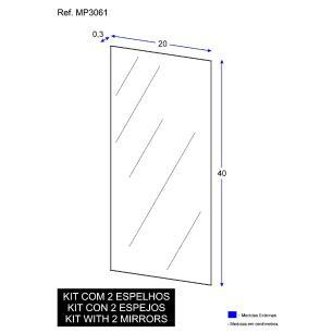 Espelho Decorativo de Vidro Retangular 40 x 20 cm Lapidado/Polido - Kit com 2 peças Multimóveis