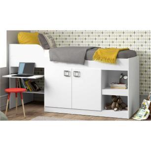Cama Solteiro c/ Escrivaninha e 2 Portas para colchão 78 x 188 cm Multimóveis Branca