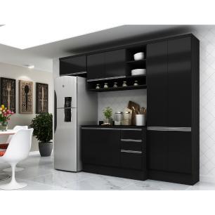 Cozinha Completa Compacta com Armário e Balcão com Tampo Hollywood Multimóveis Preto