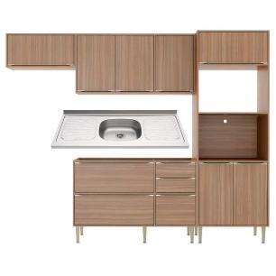 Cozinha Compacta com Pia Inox 5 peças Calábria Multimóveis MP3204 Madeirado