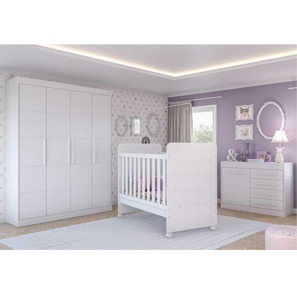 Quarto Completo infantil Valentina Multimóveis Branco com Berço mini cama + Guarda roupa 4 portas + cômoda 1 Porta e 4 Gavetas