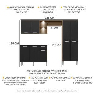 Cozinha Completa Compacta c/ 2 Leds, Armário e Balcão c/ Tampo 3 pç Pequim Multimóveis Madeirado/Pto